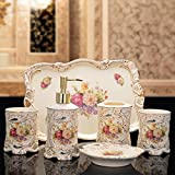 HOALLME European High-grade Country Style Ceramic Bathroom Accessories Sets with Tray/Soap Dispenser/Tumbler/Soap Dish/Toothbrush Holder Wedding Housewarming Gifts