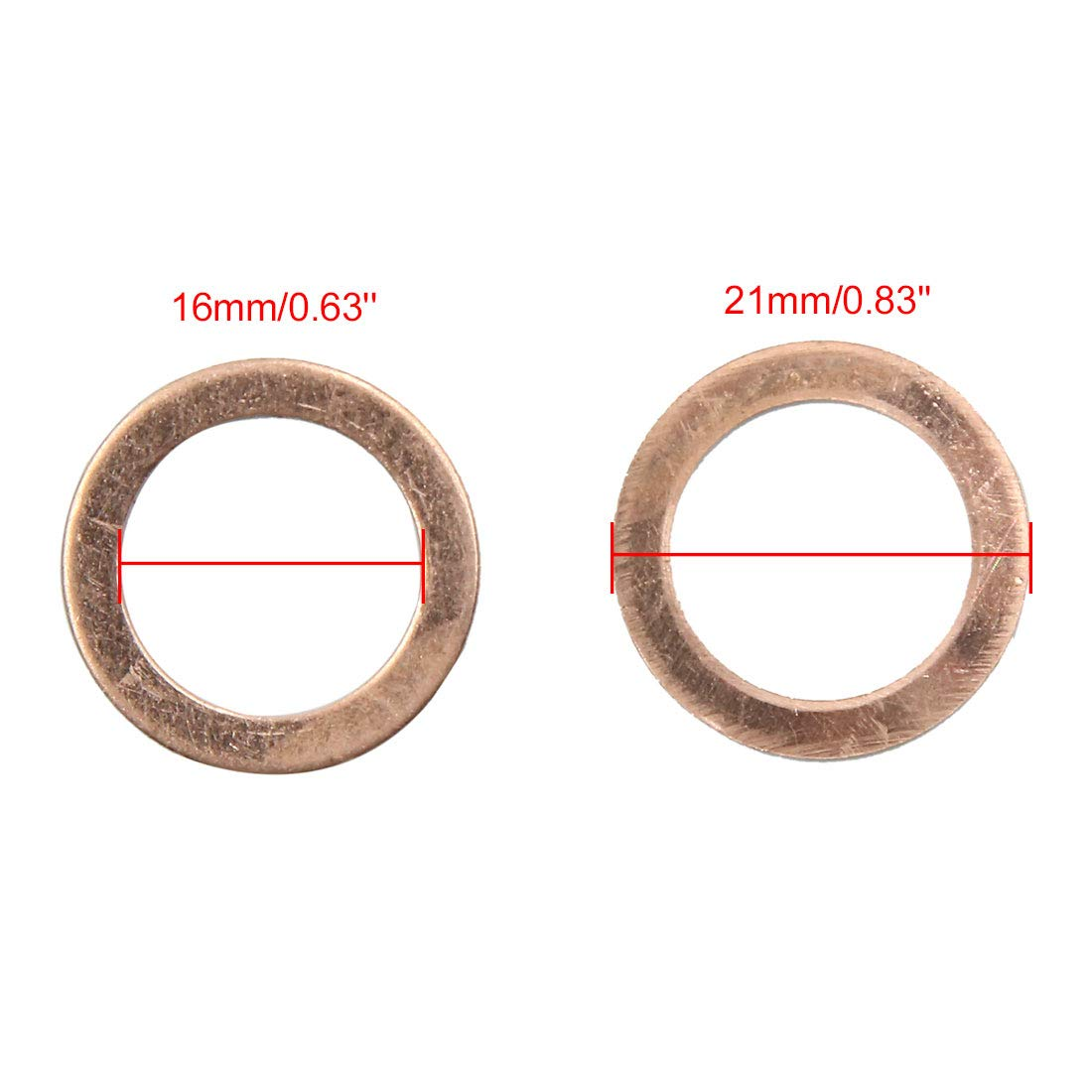 X AUTOHAUX 16mm Inner Dia Copper Crush Washers Car Flat Sealing Plate Gaskets Rings 40pcs by X AUTOHAUX (Image #2)