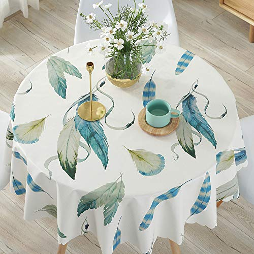 Creek Ywh Small fresh pvc hotel round table tablecloth waterproof and oilproof antiscalding disposable table, simulation feather, 138 cm  200 cm