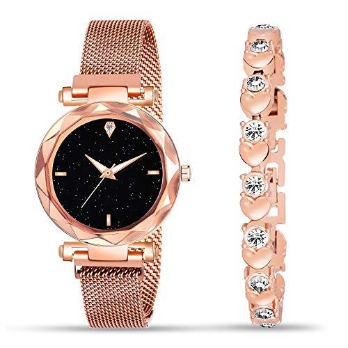Jiya Creation Branded Girls Watch with Bracelet Combo Diamond Analogue Watch Girl Stylish for Woman or Girl or Female, Combo of 2