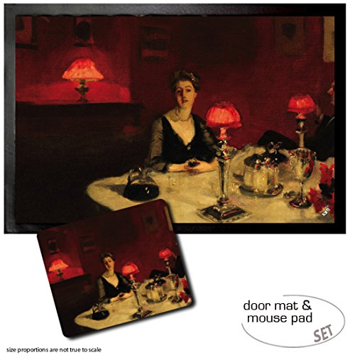 - Set: 1 Door Mat Floor Mat (24x16 inches) + 1 Mouse Pad (9x7 inches) - John Singer Sargent, Le Verre De Porto, A Dinner Table at Night, 1884