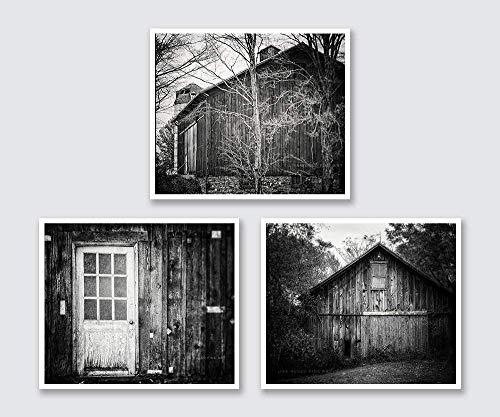 - Black and White Farm Photograph Set of Three, Rustic Farmhouse Decor, Discount, Greyscale Country Art.