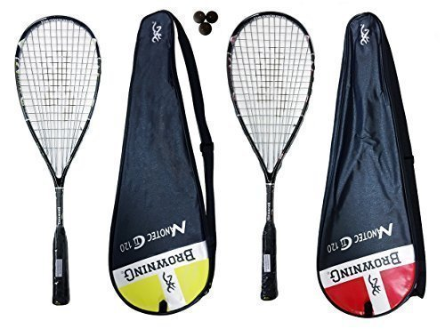 2 Browning Nanotec Ti 120 x Lot de 2 raquettes de Squash Rouge & Jaune 3 balles de Squash Dunlop 570