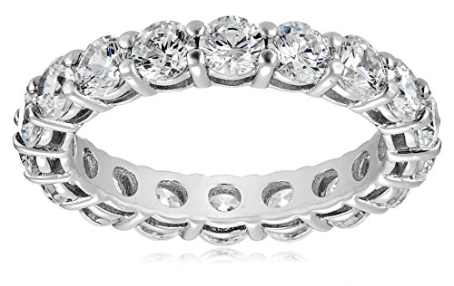 Simulant Ring Diamond Eternity - Platinum-Plated Sterling Silver All-Around Band Ring set with Round Swarovski Zirconia (3 cttw), Size 6