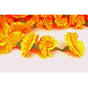 Buycrafty 5 Feet Long Strands Marigold Garlands, Flower Garland, Indian Wedding Flowers, Diwali Marigold, Set of 5, Party Decor, Wedding, Deepavali 2