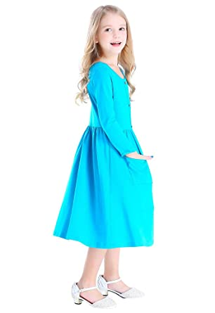 Bow Dream Girl Dress Vintage O-Neck Long Sleeve Solid Cotton with Buttons  Blue 6 aac82fd11