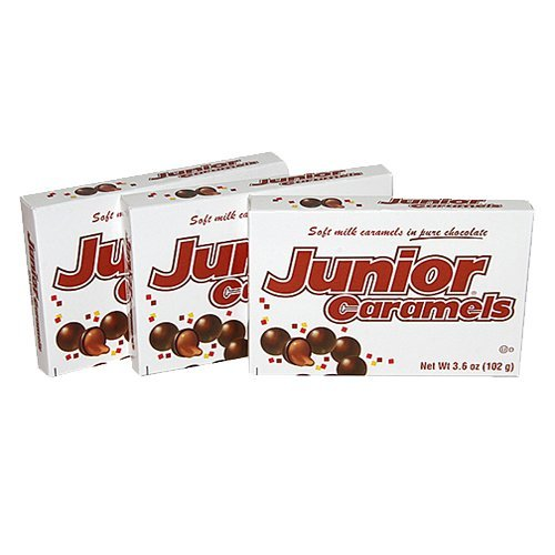 Junior Caramels Chocolate Candy Theater Box, 3.5 oz, Pack of 3