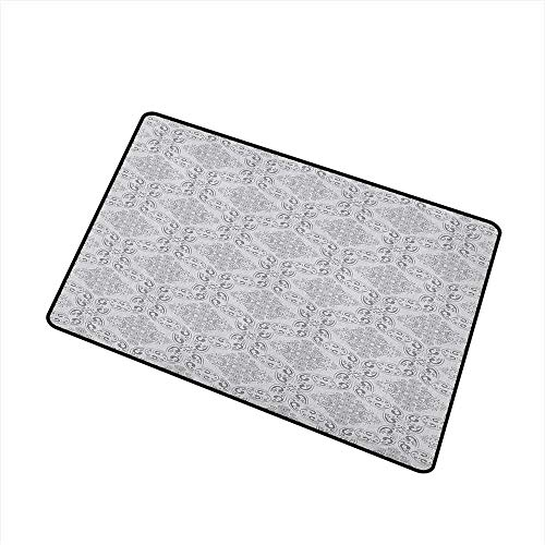 (Wang Hai Chuan Grey Welcome Door mat Victorian Antique Tile Pattern with Royal Curlicues Old Rich Scroll Regency Motifs Door mat is odorless and Durable W19.7 x L31.5 Inch Grey Pale Grey)