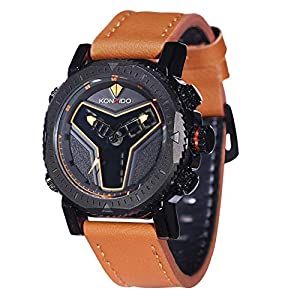 KOSSFER Men's Military Sport Wrist Watch Quartz Dual Movement with Analog-Digital Display Watches Big Face Sports Watch for Men Waterproof Military Wrist Watches in Black Silicone Band