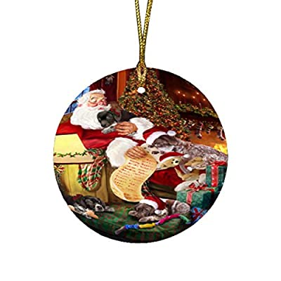 German-Shorthaired-Pointer-Dog-and-Puppies-Sleeping-with-Santa-Round-Christmas-Ornament
