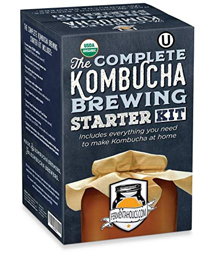 The Complete Kombucha Brewing Starter Kit: Live Kombucha ORGANIC SCOBY- Fermented Starter Tea - Glass Brew Jar - Sugar & Tea - Instructions & Recipes + More!