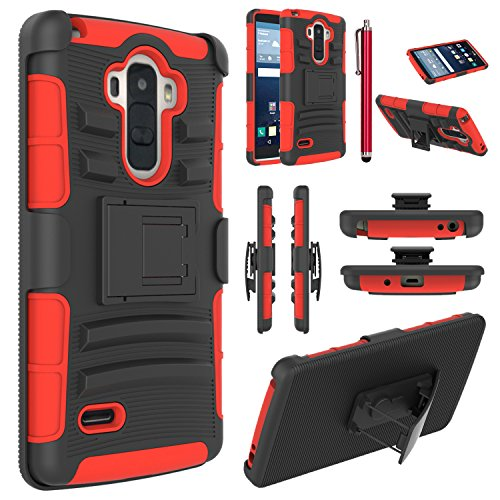 LG G Stylo Case, EC™ Hybrid Holster Case, Dual Layers Armor Case with Kickstand and Locking Belt Swivel Clip for LG G Stylo/LG G4 Stylus/ LG LS770 (Black/Red)