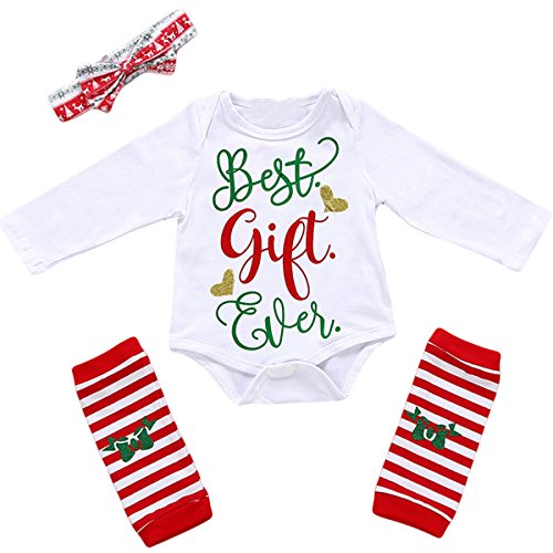 Best Baby Costumes Ever (3Pcs Baby Girl Cute Long Sleeve Letter Romper Leg Warmers Headband Outfits Christmas Costume (6-12 Months, White))