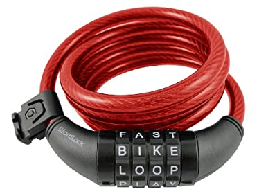 Wordlock CL-408-RD 4-Letter Combination Bike Lock Cable, Red, 5-Feet
