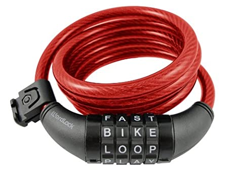 Wordlock CL-408-RD 4-Letter Combination Bike Lock Cable, Red, 5-Feet (Avatar Stand Up)