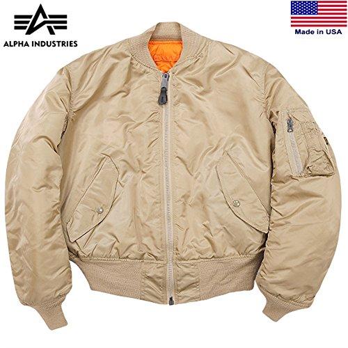 MA-1 Alpha Industries US Army Pilot Flight Military AF Air Force Bomber Jacket L (Large, Sand / Orange) (Orange Reversible Jacket Flight)