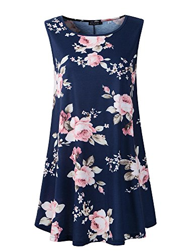 Veranee Women's Sleeveless Swing Tunic Summer Floral Flare Tank Top (XXX-Large, 6-25) (Jeans Floral Rich And Skinny)