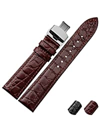 NESUN Calfskin Leather Watch Band Suitable For Men And Women Tissot Watch (18, Gold Brown)