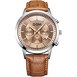 Sheli Men's Watch Large Dial Multifunctional Sports Waterproof Brown Genuine Leather Strap,40.5