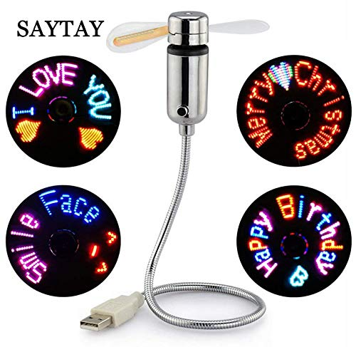Fan Desk Clock - (New RGB version) USB LED RGB Programmable Fan for PC Laptop Notebook Desktops Flexible Gooseneck Mini USB Programmable Fan