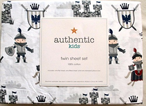 (Authentic Kids TWIN SIZE Sheet Set - Knights Castles Dragons)