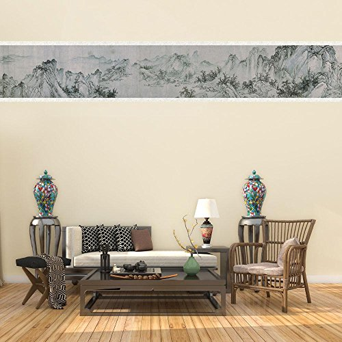 Aolvo Border Wallpaper, Chinese Classic Wall Drawing 11816 Inch Waterproof Removable Wall Mural Self Stick Wallpaper Cover,DIY Asian Parlor/Bedroom/Garden Decor,PVC