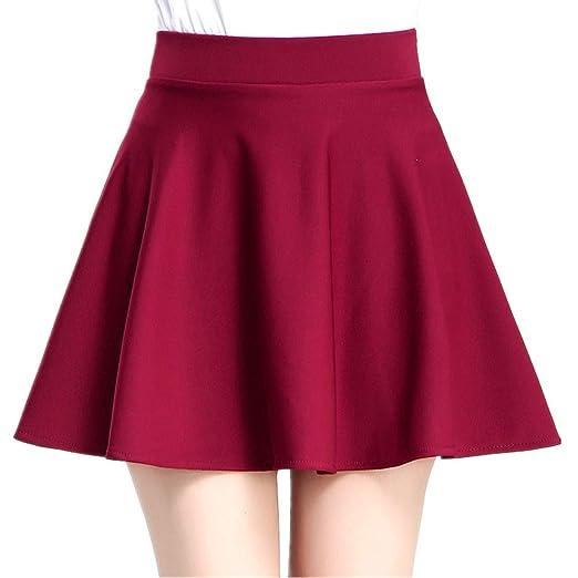 WUSHIYU Minifaldas de Cintura Alta para Mujer Falda Skater Mini ...