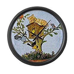 CafePress - Cat And Bird Shower Curtain - Large 17 Round Wall Clock, Unique Decorative Clock