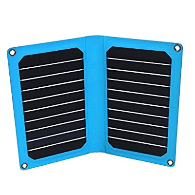 Solar Charger,PowerGreen 14W Folding Solar Panel Charger with Dual USB Ports for All 5V Digital Cell Phones,Emergency Camping&Hiking(Blue)