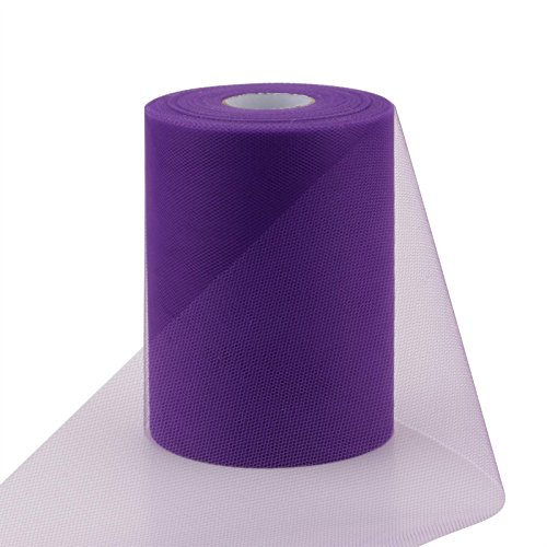 1/2' 100 Bows (vLoveLife Purple 6 Inch x 100 Yards Tulle Roll Spool Fabric Table Runner Chair Sash Bow Tutu Skirt Sewing Crafting Fabric Wedding Party Gift Ribbon)