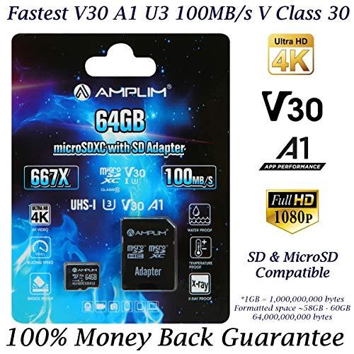 64GB Micro SD SDXC Card Plus Adapter - Amplim 64 GB microSD Card for Cell Phone, Tablet, Camera, GoPro, Nintendo, Fire, DJI (Extreme 100MB/s 667X V30 A1 Class 10 U3 UHS-I Pro TF microSDXC Memory) (Sd Galaxy Tab 2 Card Micro)