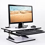 MagicHold® Height Adjustable Table Top Sit/Stand Desk riser mount for monitor/laptop-WORK STATION- White wood
