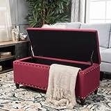 Noble House Tabitha Deep Red Fabric Storage Ottoman
