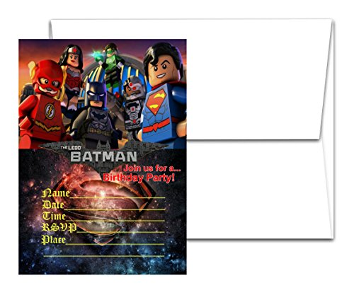 12 BATMAN MOVIE Birthday Invitation Cards (12 White Envelops Included) #1]()