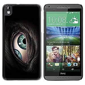 QCASE / HTC DESIRE 816 / párpados cerca turquesa verde animal gris peludo / Delgado Negro Plástico caso cubierta Shell Armor Funda Case Cover