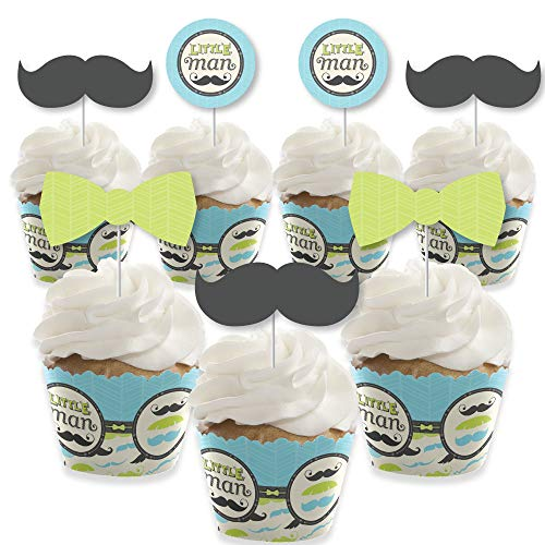 Dashing Little Man Mustache Party - Cupcake Decoration - Baby Shower or Birthday Party Cupcake Wrappers and Treat Picks Kit - Set of 24]()