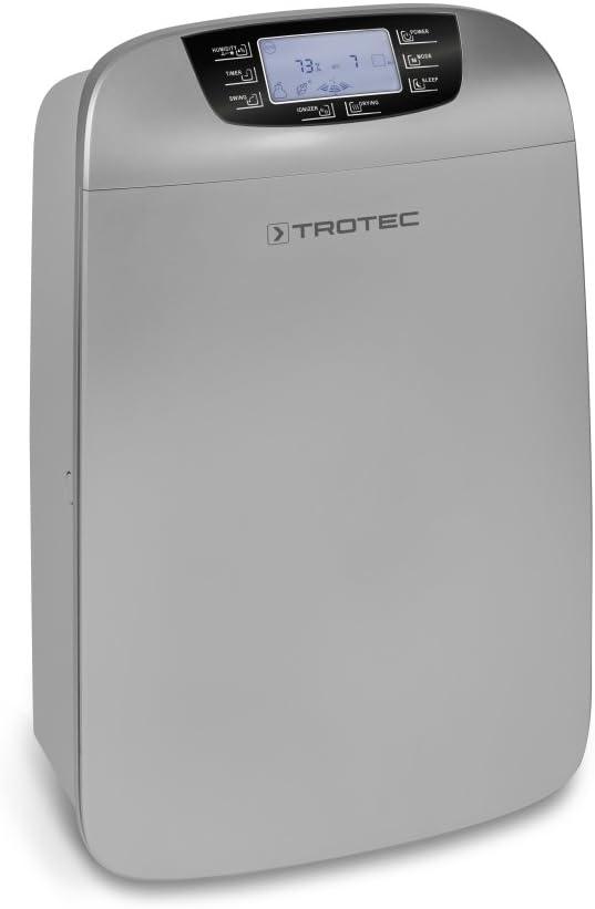 TROTEC Deshumidificador eléctrico TTK 110 HEPA, 40L/24h, Filtro de Aire lavable, Depósito 6 L, Portátil, Para Habitaciones de 120 m²/300m³, Diseño, Silencioso, 530 W, Temporizador, Secado de ropa