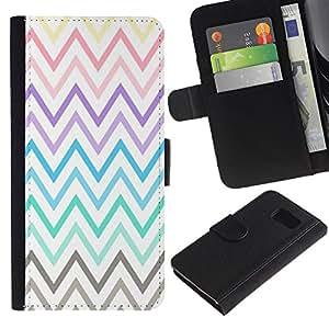 Billetera de Cuero Caso Titular de la tarjeta Carcasa Funda para Samsung Galaxy S6 SM-G920 / Pastel Purple Teal Yellow Pattern / STRONG