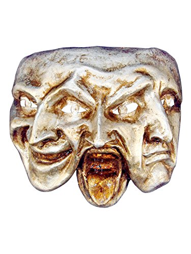 Venetian Full Face Mask Trifaccia - Comedy, Tragedy and Mystery (silver)
