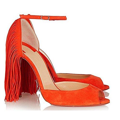 Damen Peep Toe Sandalen Pumps High Heels Stiletto Knöchelriemchen mit Fransen Orange