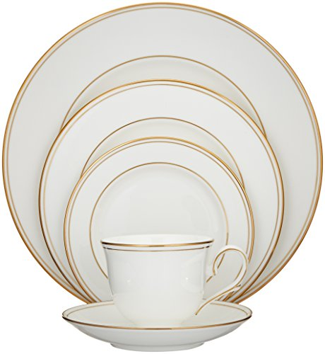 Lenox Federal Gold Bone China 5 Piece Place Setting, White - 100191602 (Gold And Set Dish White)
