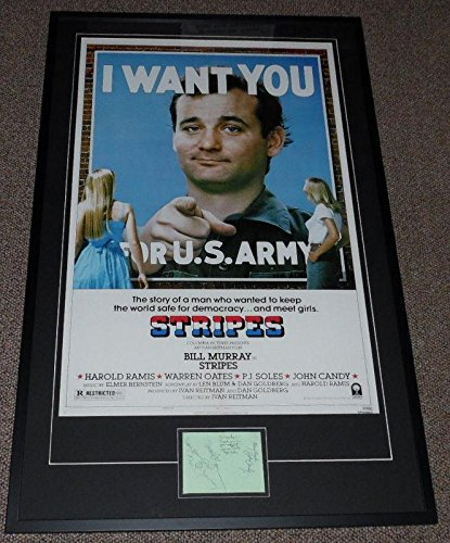 John Ramos Autographs - Stripes Cast Signed 29x46 Poster Display Bill Murray Harold Ramis John Candy - Autographed NFL Photos