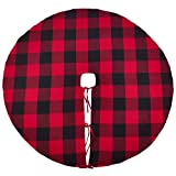 SARO LIFESTYLE Birmingham Collection Buffalo Plaid Design Cotton Christmas Tree Skirt, 53'', Red