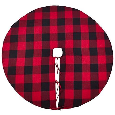 SARO LIFESTYLE Buffalo Plaid Design Cotton Christmas Tree Skirt, 53