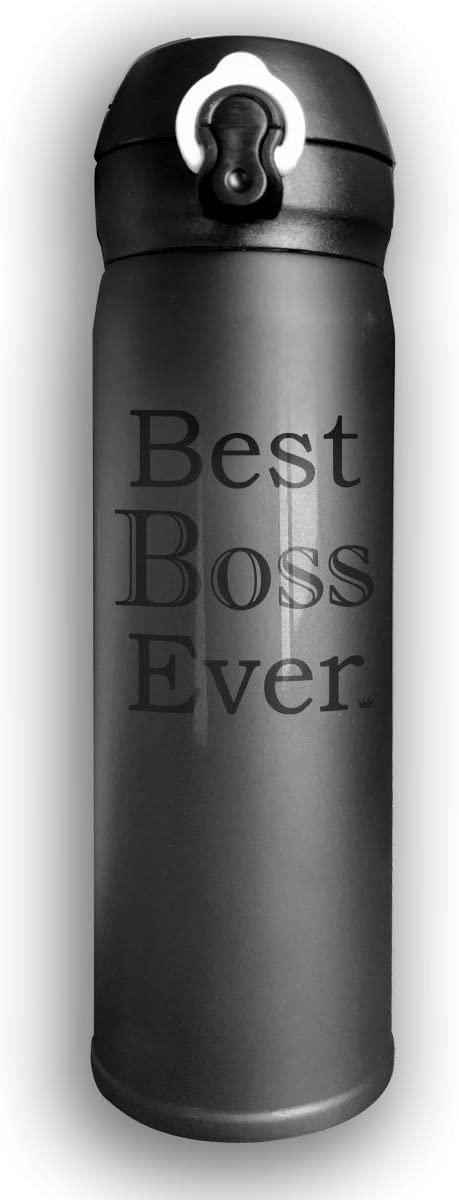 Thermoses Stainless Steel Coffee Mug Best Boss Ever Travel Cups for Home Office School Works Car Great for Hot and Cold Drink Free Flip Cap Double Wall - Pink
