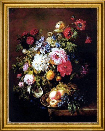 Adriana-Johanna Haanen Roses Peonies Poppies Tulips And Syringa In A Terracotta Pot With Peaches And Grapes On A Copper Ewer On A Draped Marble Ledge - 21.1