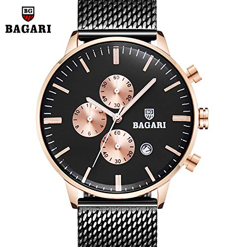 HWCOO Hermoso Relojes de Pulsera BAGARI/Moda 2018 Nuevo Reloj de Malla para Hombre con