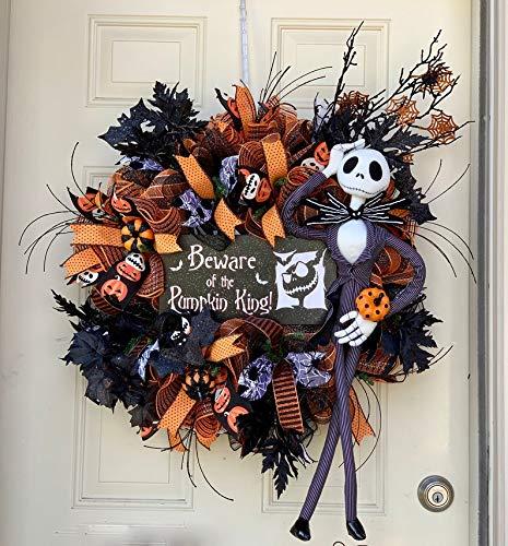 Halloween Wreath- Jack Skellington Wreath- Front Door Decor-