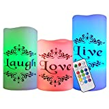 Eldnacele Color Changing Flickering Flameless Candles Multi Color White Wax with Remote Timer - Live, Love, Laugh Decal Romantic Candles(3'' x 4'' 5'' 6'')