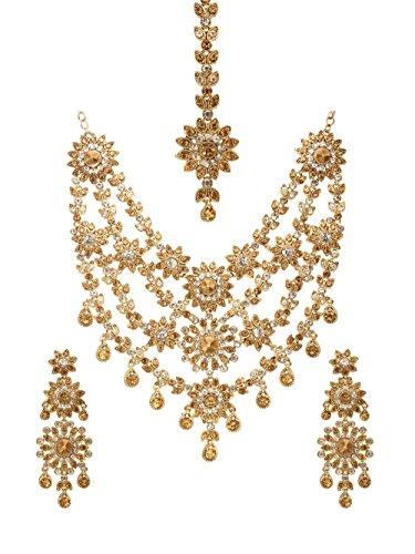 Bindhani Bollywood Indian Wedding Stone Necklace Earrings Tikka Bridal Jewelry Set for Women